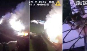 Dramático video de policías de San Antonio rescatando pasajeros de un vehículo que estalló en llamas
