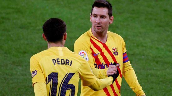 Pedri y Messi conectando nuevamente.