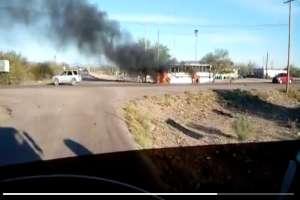 VIDEO: Sicarios queman autobuses en zona el Caro Quintero le pelea a los Chapitos