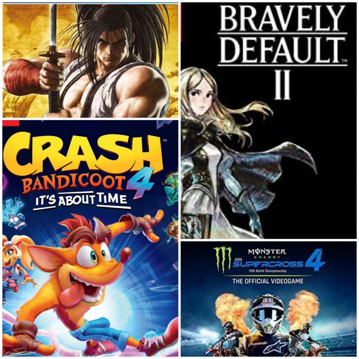 Portadas Bravely Default 2, Crash Bandicoot 4: It's about time, Samurai Shodown SE y Monster Energy Supercross 4.