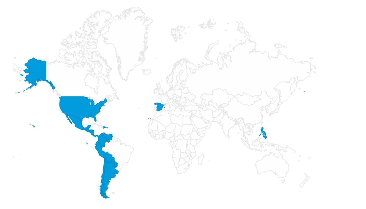 El doodle de hoy puede ser visto en España, Estados Unidos, México, Guatemala, Honduras, El Salvador, Nicaragua, Costa Rica, Panamá, Colombia, Venezuela, Ecuador, Perú, República Dominicana, Puerto Rico, Trinidad y Tobago, Bolivia, Paraguay, Chile, Argentina, Uruguay y Filipinas.