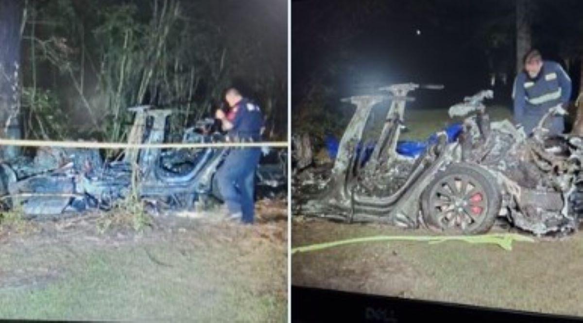 Vehículo Tesla genera fuego infernal; mueren dos personas y bomberos duraron cuatro horas para extinguir las llamas