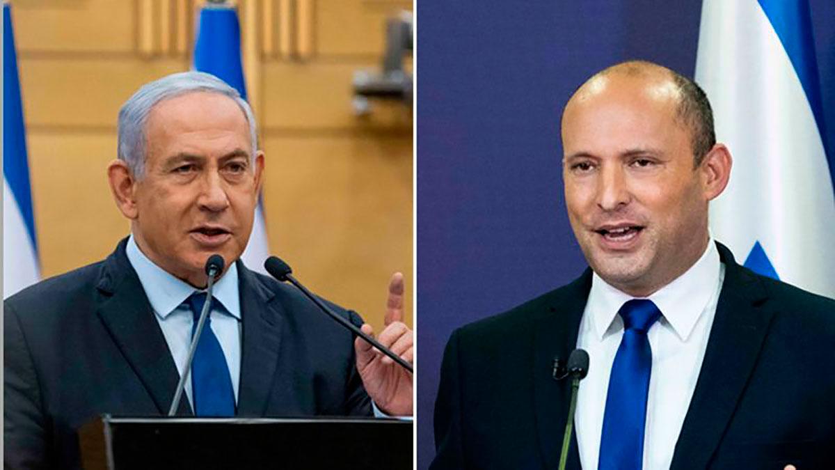 Netanyahu (i) y Bennett (d) intercambiaron duros comentarios en sus mensajes televisados.