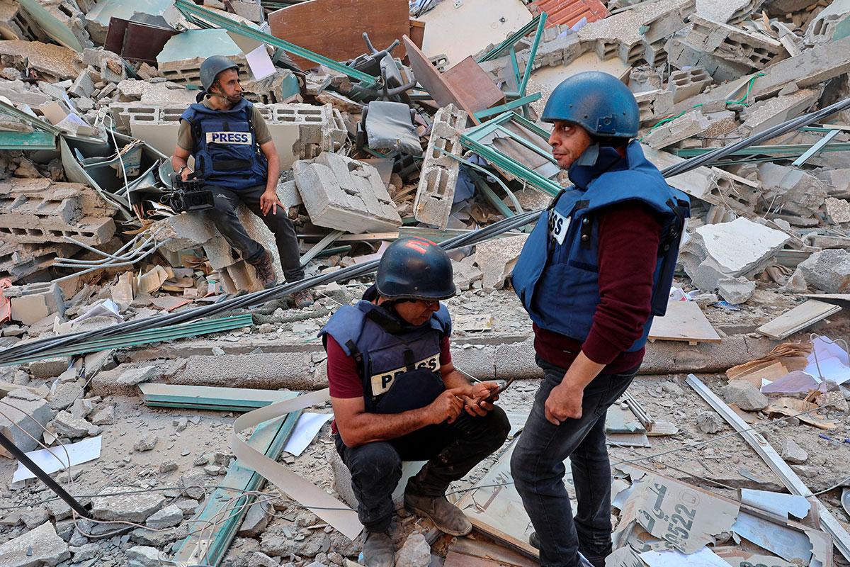 Periodistas Edificio derrumbado en Gaza