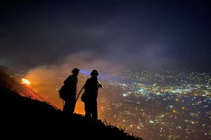 Incendio forestal en Santa Bárbara casi arrasa con edificios residenciales y de televisión local