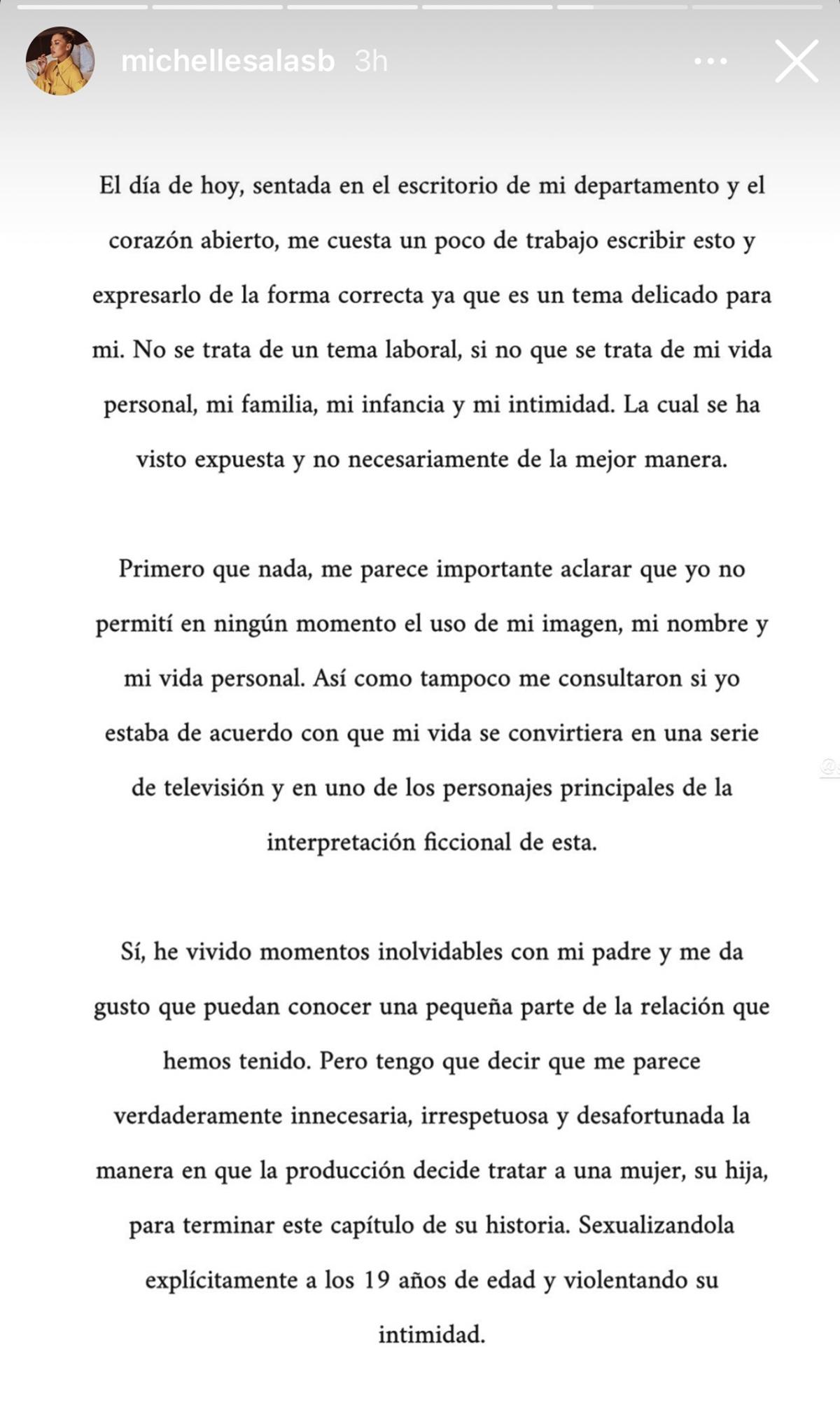 Carta de Michelle Salas sobre la serie de Luis Miguel