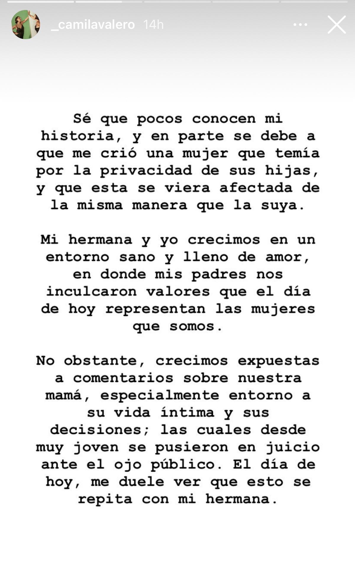 Carta de Camila defendiendo a su hermana Michelle Salas.