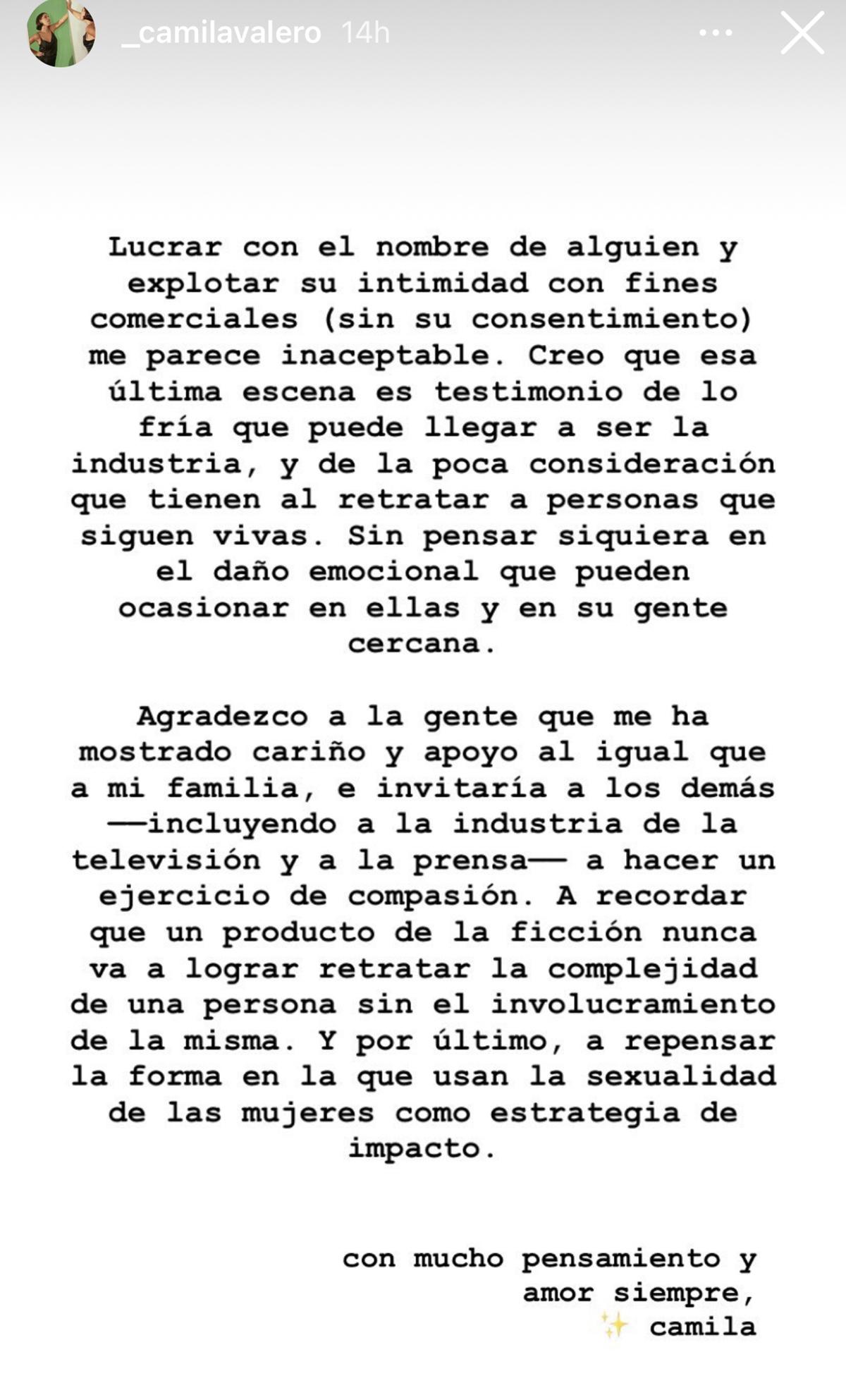 Carta de Camila defendiendo a su hermana Michelle Salas