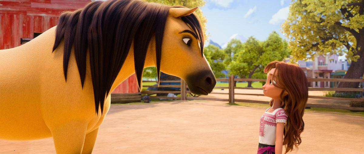 El caballo Spirit y Lucky Prescott en una escena de Spirit Untamed.