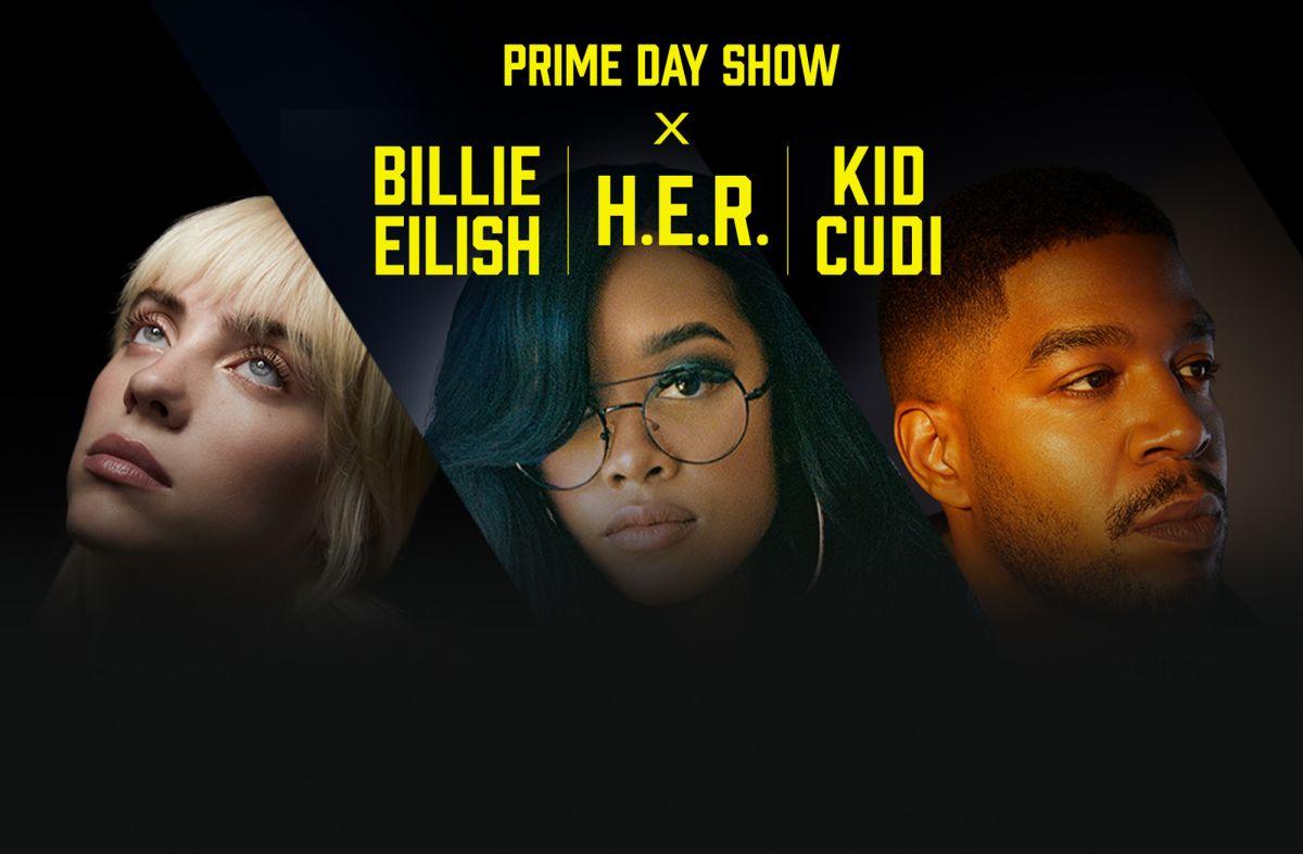 Billie Eilish, H.E.R. y Kid Cudi en concierto de Prime Day.