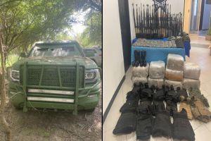 6 trocas blindadas, arsenal y droga, le arrebatan a narcos en la frontera