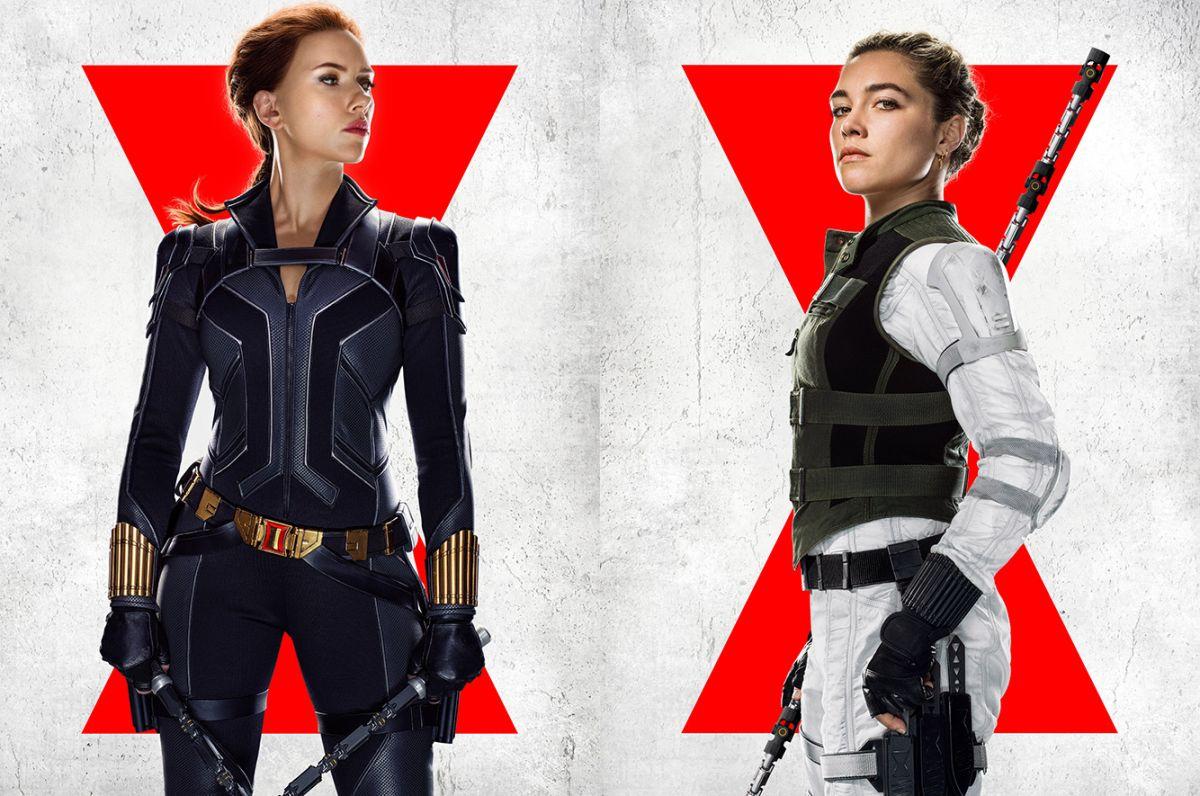 """Scarlett Johansson y Florence Pugh como viudas negras en """"Black Widow""""."""
