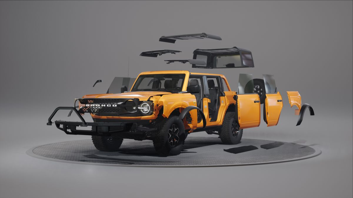 Render de la Ford Bronco 2021 con todas las partes para personalizarla