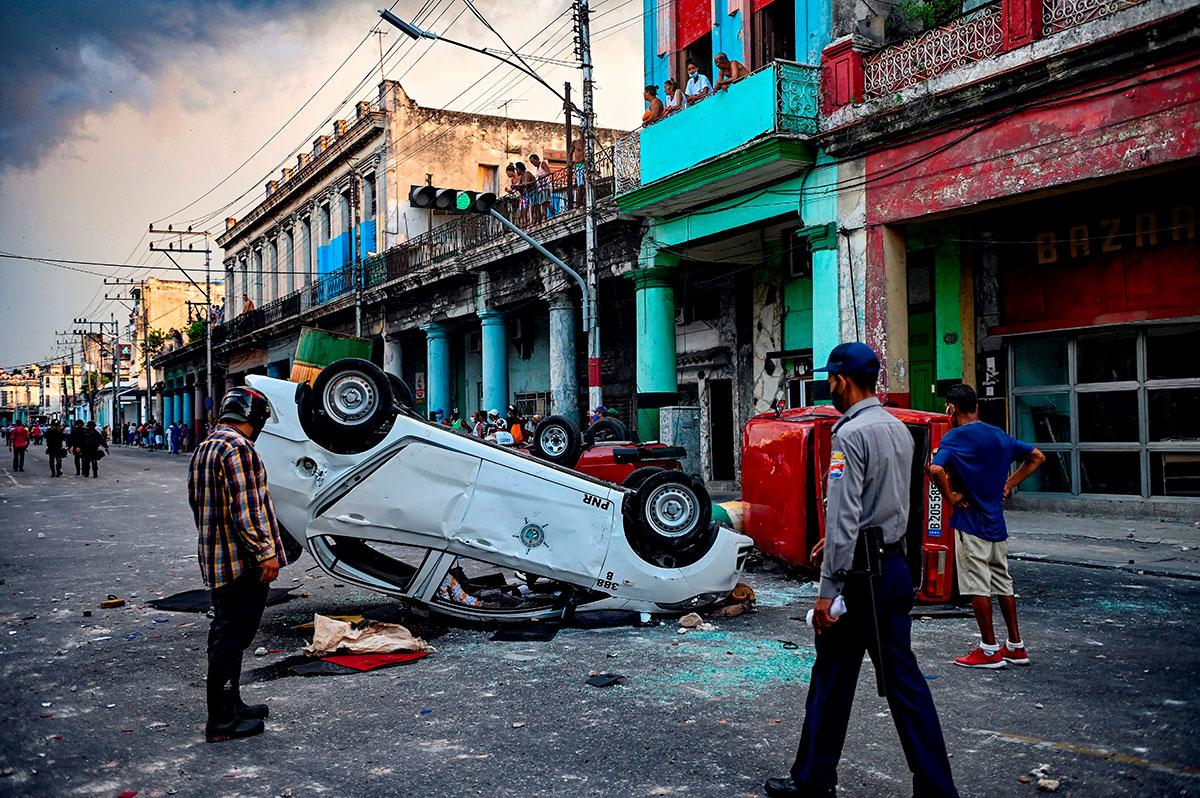 """Preocupa a EE.UU. y la OEA llamado del presidente de Cuba, Miguel Díaz Canel, a """"combatir"""" las protestas."""