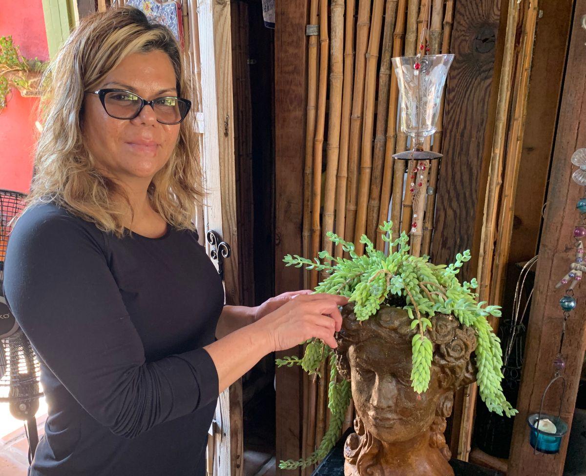 Lupita Villalobos crea un negocio de plantas decorativas que ahorran agua y no requieren muchos cuidados. (Araceli Martínez/La Opinión)