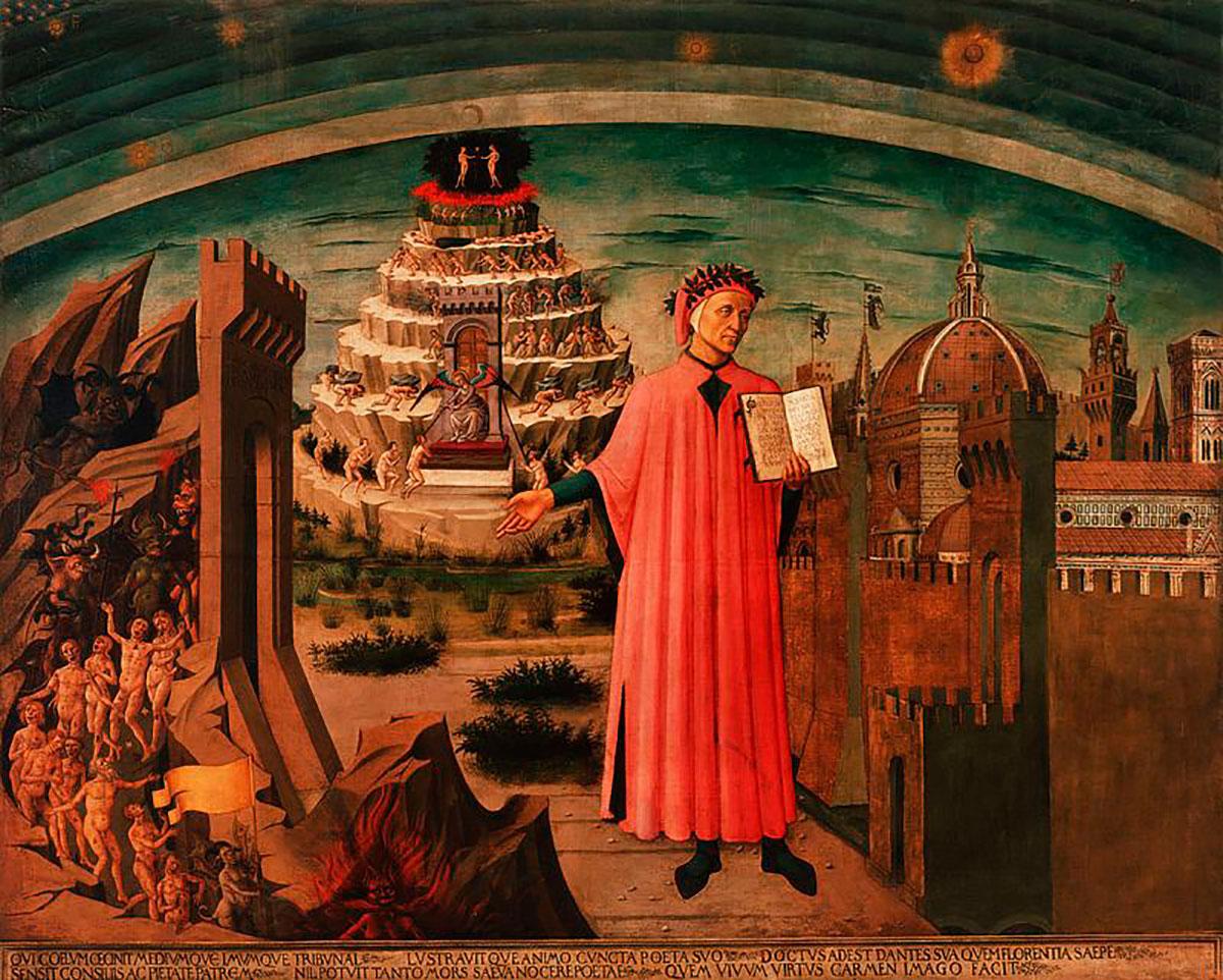 """Alegoría de """"La Divina Comedia"""" y Florencia de Domenico di Michelino. Dante sostiene su obra. A un lado está Florencia y al otro, una visión del infierno. Detrás de Dante, humanos que intentan ascender al cielo."""
