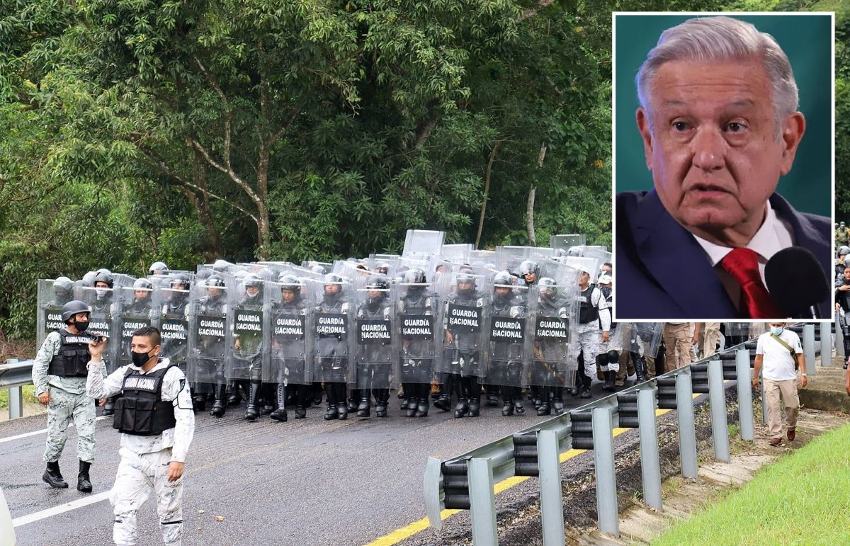 Elementos de la Guardia Nacional vigilan el sur de México.