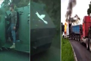 """VIDEO: Denuncian que decenas de narcos del CJNG llegaron a bordo de """"monstruos"""" para apoderarse de Coalcomán"""