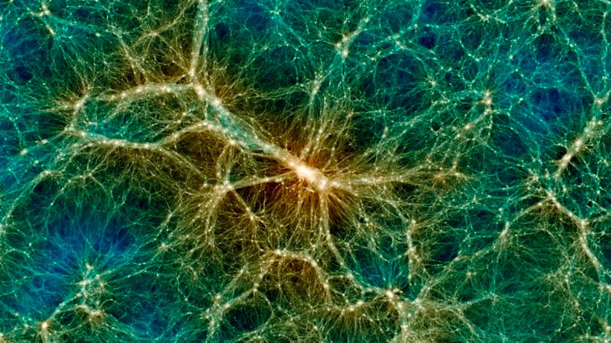 Uchuu permite visualizar la materia oscura y cómo se distribuye, por ejemplo, en un objeto supermasivo como un gran cúmulo de galaxias. (skiesanduniverses.org)
