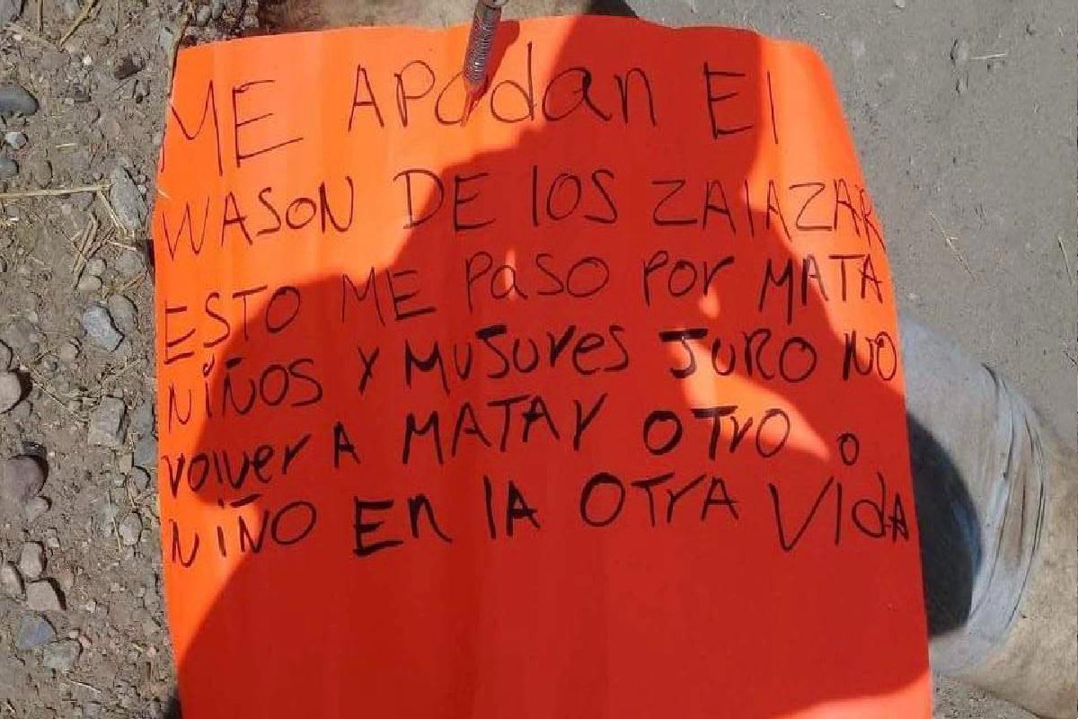 """""""Esto me pasó por matar niños y mujeres"""", dejan narcomensaje junto a restos del Wasón del Cártel de Los Salazar"""