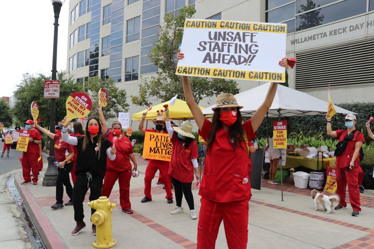 Enfermeras de CNA en USC piden condiciones seguras.