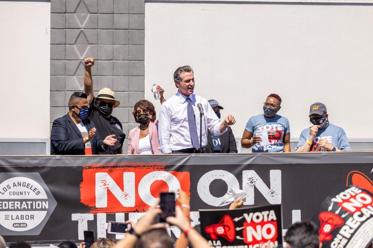 El gobernador Newsom en el evento de la LA County Federation of Labor