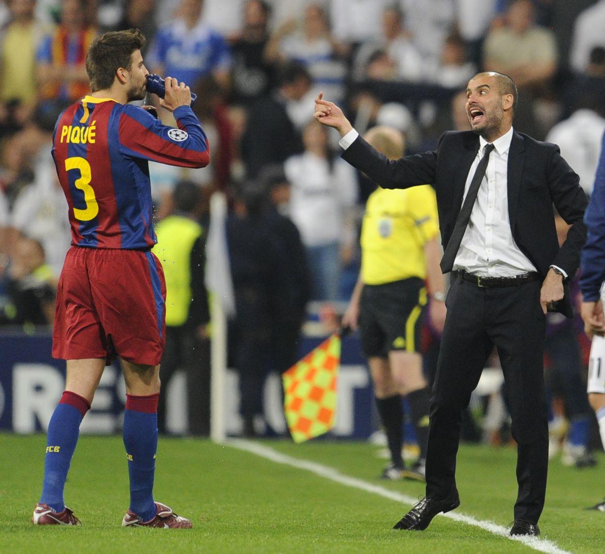 Piqué y Guardiola en el Barcelona.