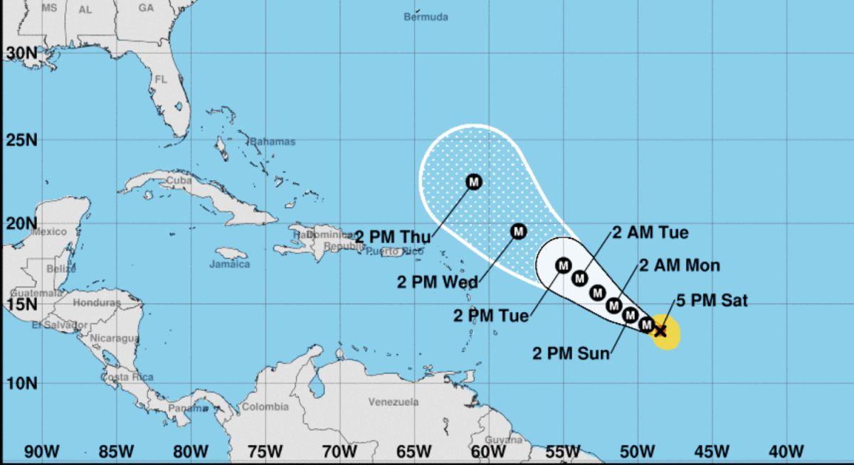 Posible trayectoria del huracán Sam en los próximos 5 días.