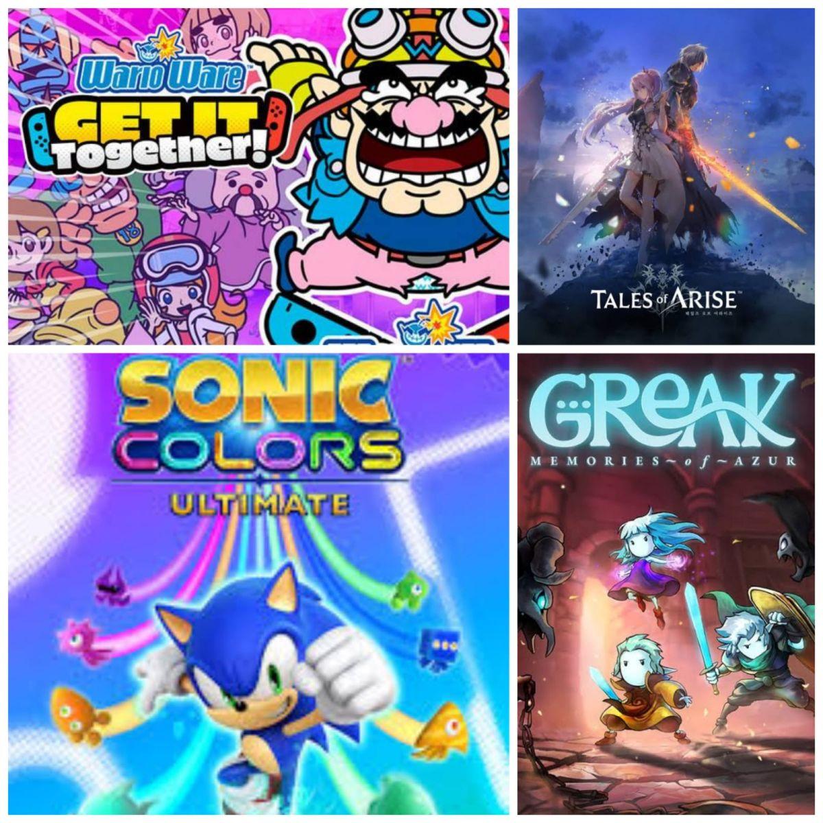 Tales of Arise Sonic Colors Ultimate WarioWare Get It Together y Greak Memories of Azur