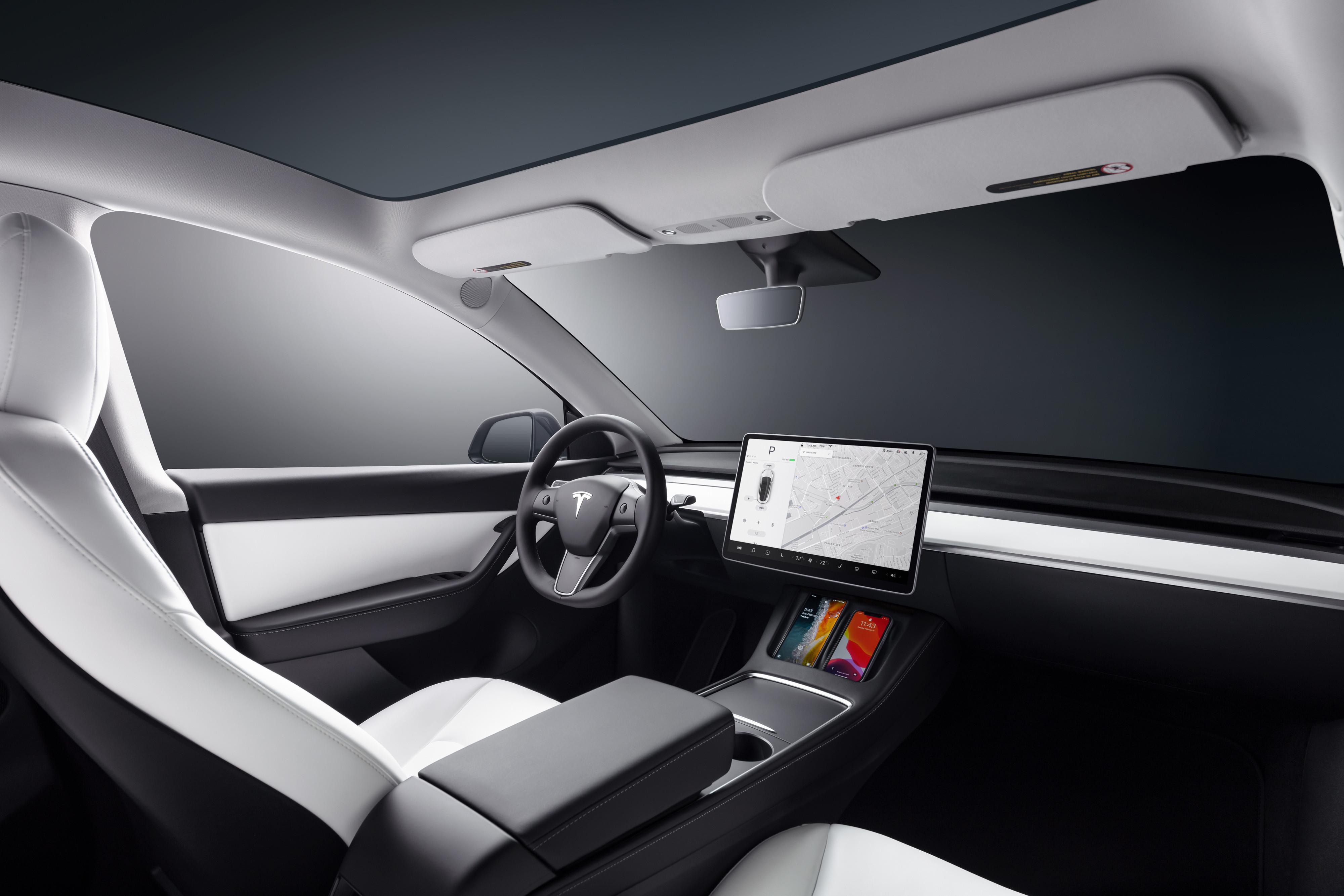 Foto del interior de un Model Y de Tesla