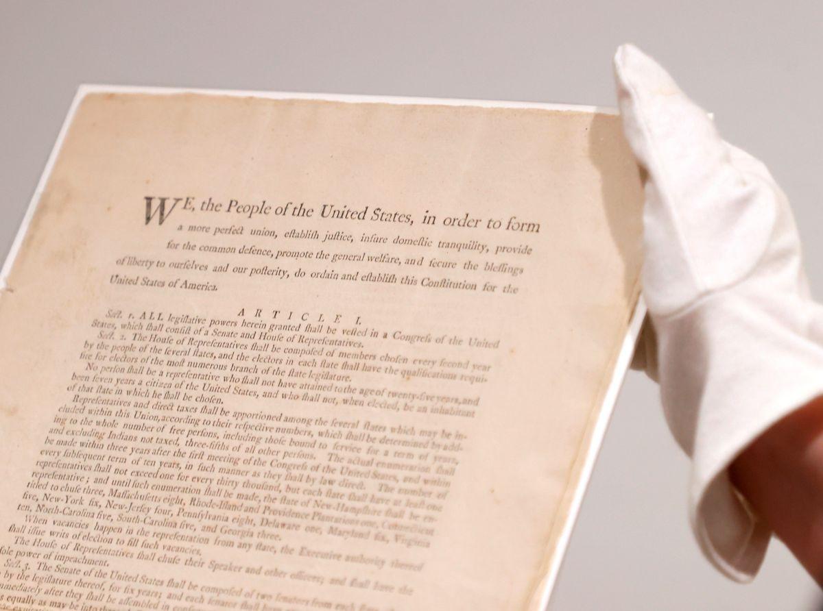 El ejemplar de la primera impresión del texto final de la Constitución de los Estados Unidos de 1787.
