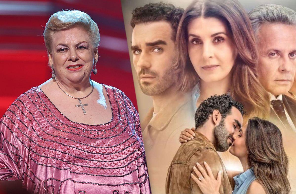 Paquita la del Barrio en Premios Billboard 2021 y el elenco de la telenovela 'Si Nos Dejan' de Univision.