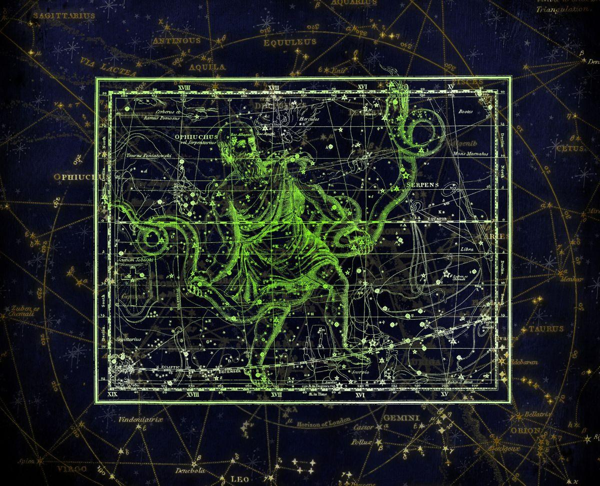 La constelación de Ofiuco se asemeja a una serpiente.